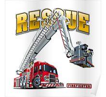 Cartoon Fire Truck Poster