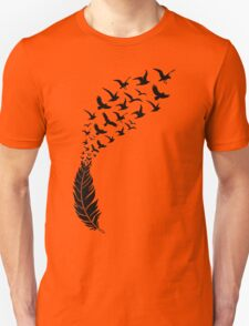 Black feather with flying birds Unisex T-Shirt