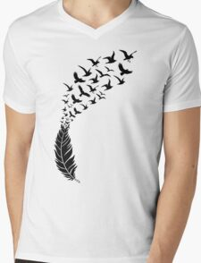 Black feather with flying birds Mens V-Neck T-Shirt