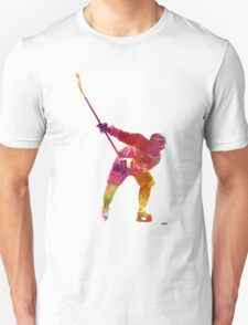 Hockey man player 02 in watercolor Unisex T-Shirt