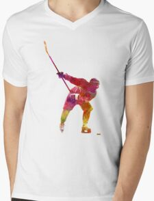 Hockey man player 02 in watercolor Mens V-Neck T-Shirt