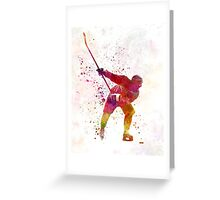 Hockey man player 02 in watercolor Greeting Card