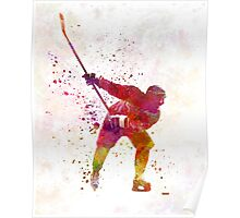Hockey man player 02 in watercolor Poster