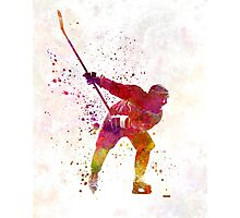 Hockey man player 02 in watercolor Photographic Print