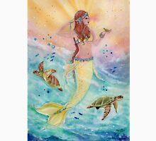 Sunshine sea mermaid with sea turtles by Renee Lavoie Unisex T-Shirt