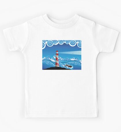 Lighthouse and Boat in the Sea 7 Kids Tee