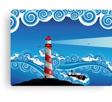 Lighthouse and Boat in the Sea 7 Canvas Print