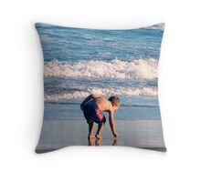 Little Boy Beach Shells Throw Pillow