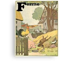 F is for Ferme - French Alphabet Animals Canvas Print