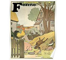 F is for Ferme - French Alphabet Animals Poster