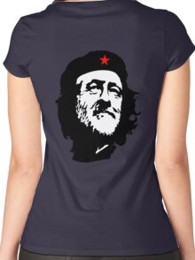 CORBYN, Comrade Corbyn, Leader, Labour Party, Black on White Women's Fitted Scoop T-Shirt