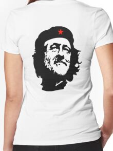 CORBYN, Comrade Corbyn, Leader, Labour Party, Black on White Women's Fitted V-Neck T-Shirt