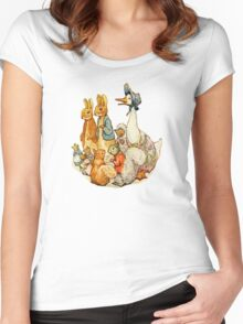 Children's Story Book Animals Women's Fitted Scoop T-Shirt