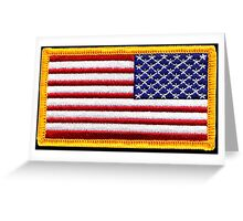 American, ARMY, Flag, reverse side flag, Arm Badge, Embroidered, Stars and Stripes, USA, United States, America, Military Badge Greeting Card