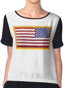 American, ARMY, Flag, reverse side flag, Arm Badge, Embroidered, Stars and Stripes, USA, United States, America, Military Badge Chiffon Top