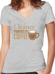 Cleaner powered by coffee Women's Fitted V-Neck T-Shirt