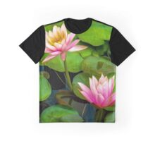 Pink Water Lilies Faux Oil Painting Graphic T-Shirt
