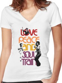 Love, Peace And Soul Train Women's Fitted V-Neck T-Shirt