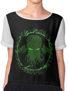 In his house at R'lyeh dead Cthulhu waits dreaming GREEN Chiffon Top