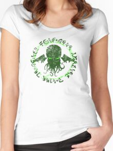 In his house at R'lyeh dead Cthulhu waits dreaming GREEN Women's Fitted Scoop T-Shirt