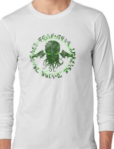 In his house at R'lyeh dead Cthulhu waits dreaming GREEN Long Sleeve T-Shirt
