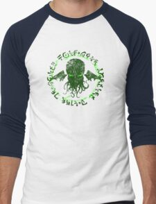 In his house at R'lyeh dead Cthulhu waits dreaming GREEN Men's Baseball ¾ T-Shirt