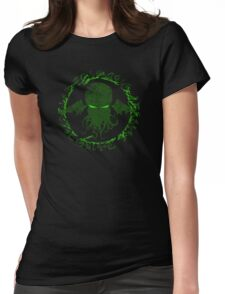 In his house at R'lyeh dead Cthulhu waits dreaming GREEN Womens Fitted T-Shirt