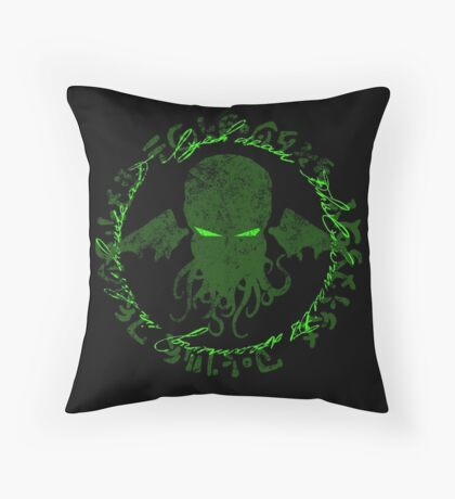 In his house at R'lyeh dead Cthulhu waits dreaming GREEN Throw Pillow