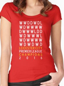 Leicester City FC Premier League Champions Results 2015-2016 Women's Fitted Scoop T-Shirt