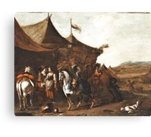 Painting Encampment motif, oil, The Netherlands, 17th-18th Century, Canvas Print