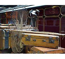 Travelling light? Vintage luggage on the railway platform. Photographic Print