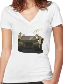 Do I look like a cat, boy? Women's Fitted V-Neck T-Shirt