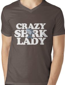 Crazy Shark Lady cute sharks Mens V-Neck T-Shirt