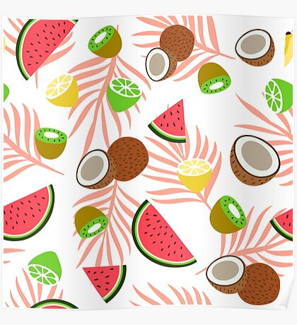 Exotic fruits pattern Poster