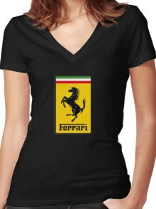Ferrari Logo Women's Fitted V-Neck T-Shirt