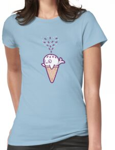 Whale ice cream  Womens Fitted T-Shirt