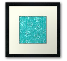 blue rose seamless pattern Framed Print