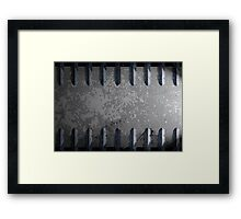 Metal railings and stone background Framed Print