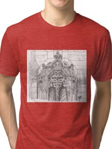 Batalha Monastery window. freehand sketch Tri-blend T-Shirt