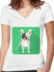 French bulldog icon  Women's Fitted V-Neck T-Shirt