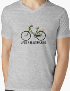 Life is a beautiful ride, vintage bicycle with birds Mens V-Neck T-Shirt