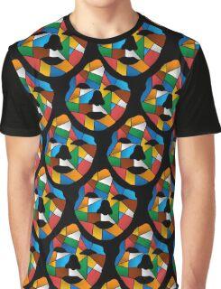 Geometric Face Pattern Black Graphic T-Shirt