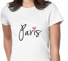 Paris with red heart Womens Fitted T-Shirt