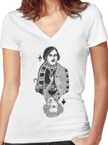 Gogol vs Pushkin Women's Fitted V-Neck T-Shirt