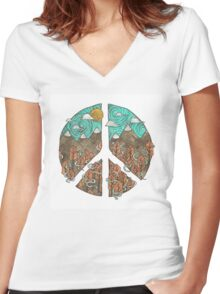 Mountain Peace Women's Fitted V-Neck T-Shirt