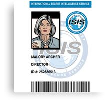 Malory Archer ID Badge Canvas Print