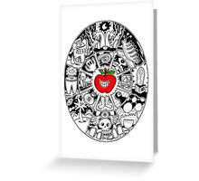 Apple Mandala in Black and White Greeting Card
