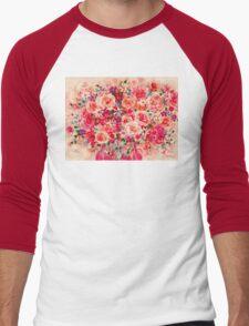 Cottage Roses Men's Baseball ¾ T-Shirt
