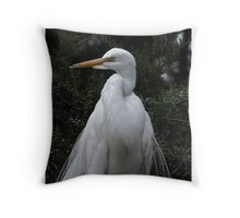 White Heron in the Junipers Throw Pillow