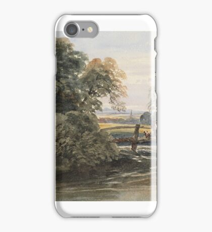 Peter De Wint, , FIGURES ON A BRIDGE, WITH ST JAMES'S CHURCH, LINCOLNSHIRE IN THE DISTANCE,  iPhone Case/Skin